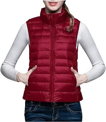 CLOOM Chaleco Acolchado De Plumas Jacket Coat Sin Mangas Chaleco de Ligero Plegable Collar del Soporte C/álido y Confortable Cuello Redondo Abrigo para Mujer,Talla Grande