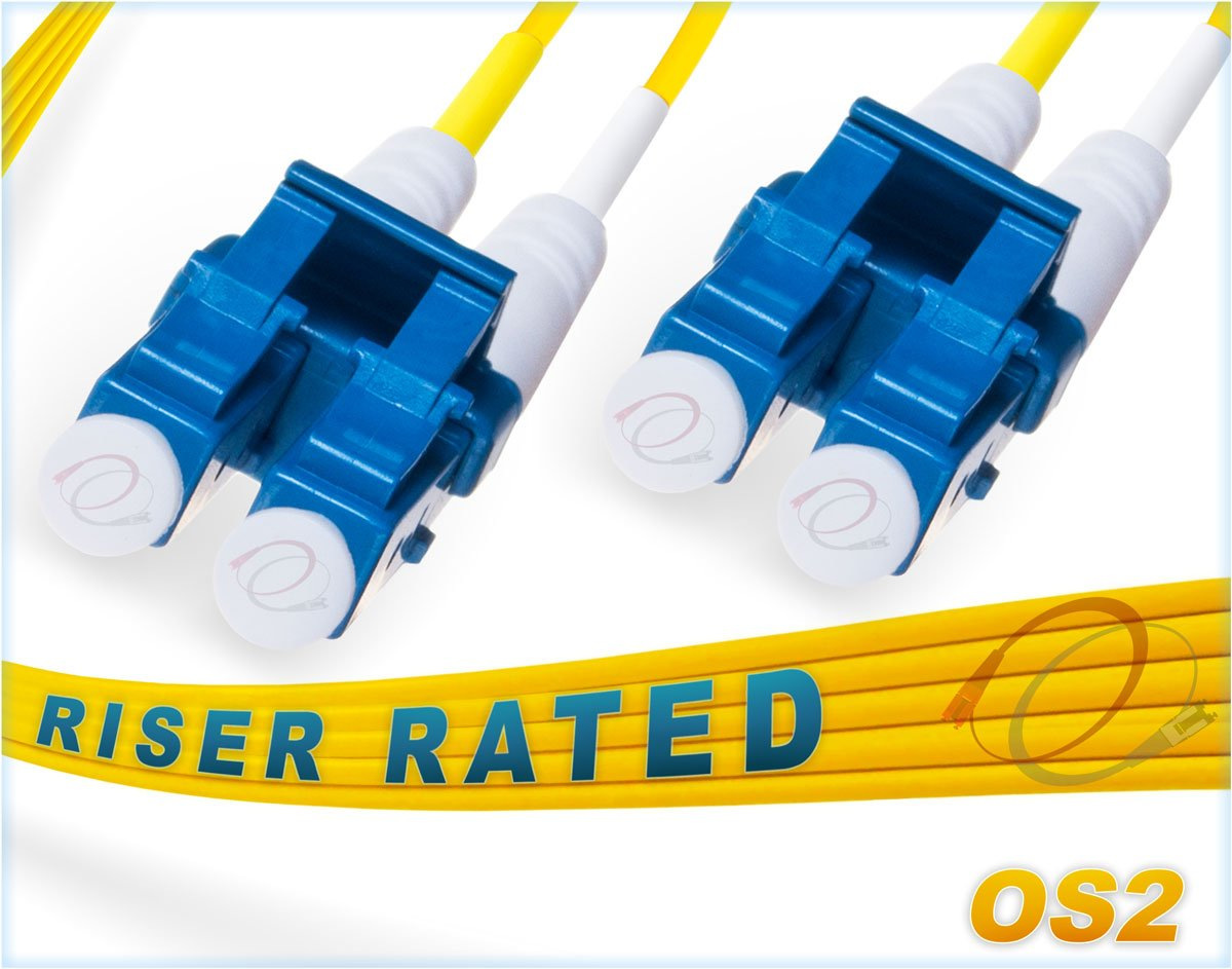 FiberCablesDirect - 3M OS2 LC LC Fiber Patch Cable | Duplex 9/125 LC to LC  Singlemode Jumper 3 Meter (9 84ft) | Length Options: 0 5M-300M | ofnr lc-lc