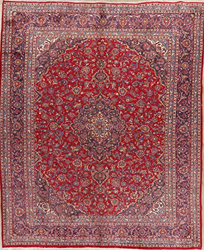 - Persian Mashad Vintage Area Rug Wool Hand-Knotted Oriental Floral Carpet 10 X 12
