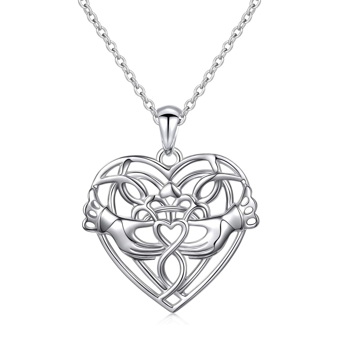 Sterling Silver Irish Celtic Knot Claddagh Lover Heart Shaped Pendant Necklace Bracelet 18 Harmonyball Jewelry US_B01FAMW9PQ