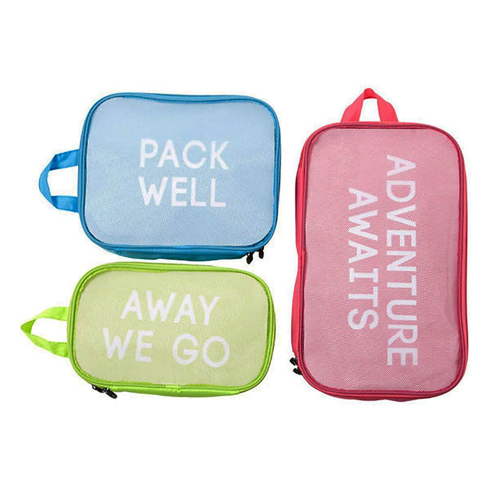 Miamica 3-Piece Packing Cube Set, Red Blue Green
