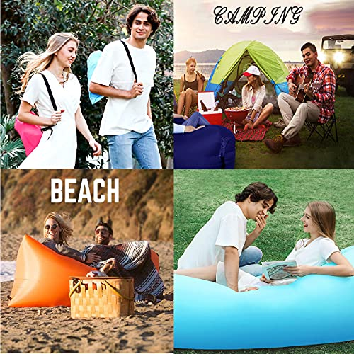 HUAXXIA Inflatable Lounger Air Sofa,Pillow-Shaped Headrest Waterproof Oxford Fabric Portable Inflatable Recliner/Chairs for Indoor & Outdoor Camping Party Picnic Beach Travel (Aqua Blue)