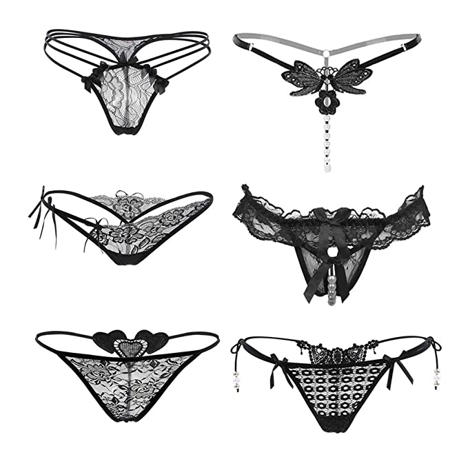 7c4d5e24e39 Nightaste Women s Lingerie Thongs 6 -Pack Lace G-String Panties Underwear  (S