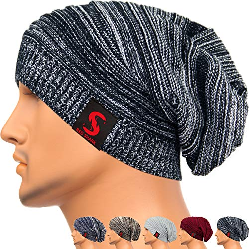 (REDSHARKS Unisex Adult Winter Warm Slouch Beanie Long Baggy Skull Cap Stretchy Knit Hat Oversized)