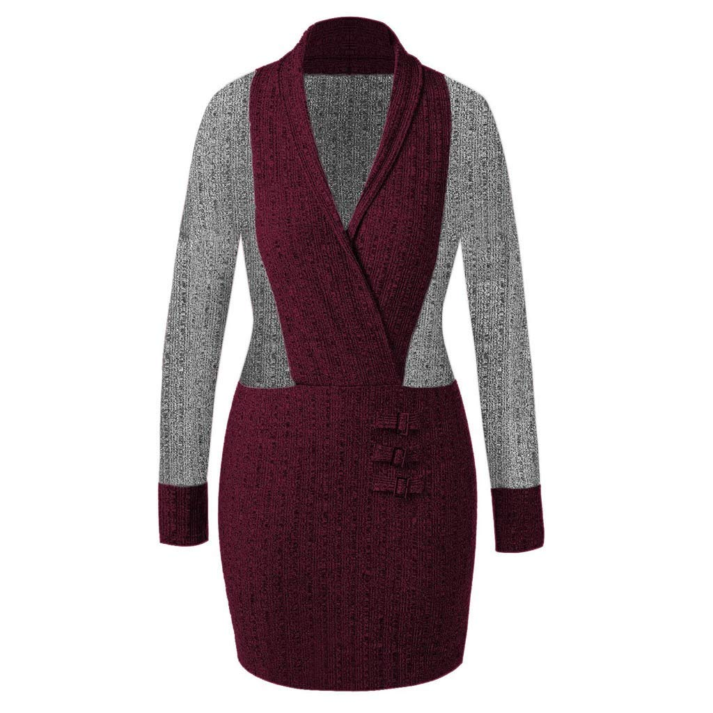 ZIYOU Damen Übergröße Tunika Mini Kleid Mode Tiefer V-Ausschnitt Volltonfarbe Langärmeliges Nähkleid