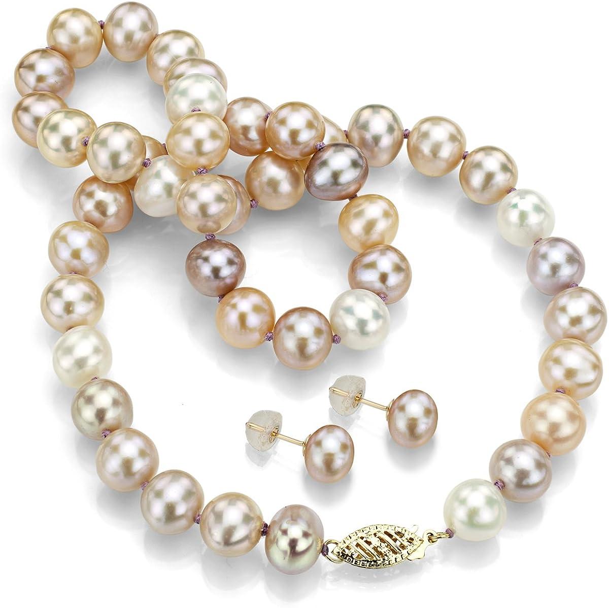 Nouveau Exquisite 14K OR MASSIF 4 mm /& 5 mm Naturel cultured pearl beaded Bracelet