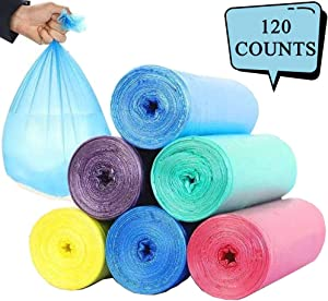 Small Trash Bags Garbage Bags, 120 Counts, 4-6 Gallon Wastebasket Bin Liners Can Plastic Trash Bags for Kitchen Bedroom Bathroom Home Office Trash Can (45cmx50cm 6 Rolls, 20Counts/Roll)