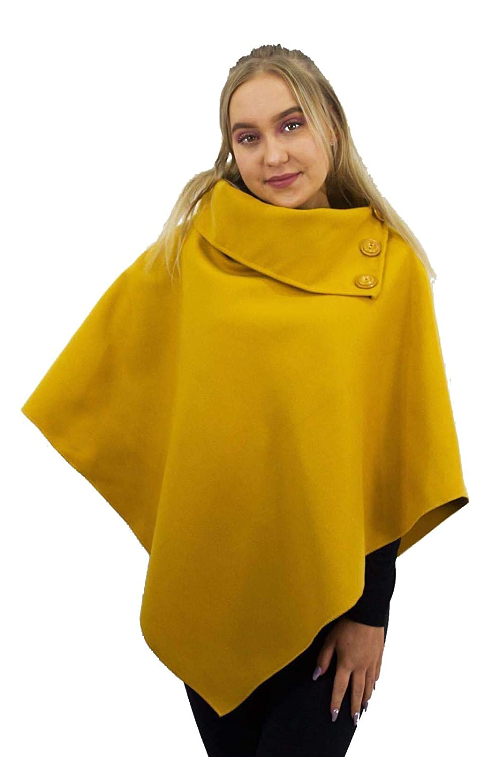 Comfiestyle New Womens Ladies 3 Buttons Neck Cardigan Wool Cape Poncho Jumper Top Shawls UK One Size