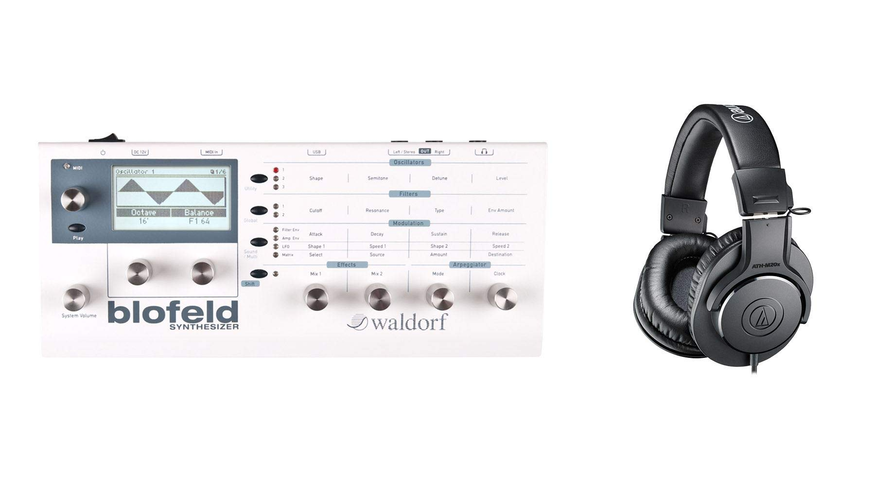 Waldorf White Blofeld Synthesizer Desktop Module Bundle with Audio-Technica ATH-M20x Headphones (2 Items)