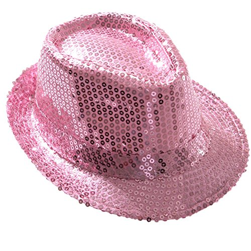 [Jacobson Hat Company Women's Sequin Fedora, Pink, Adult] (Companies Make Dance Costumes)