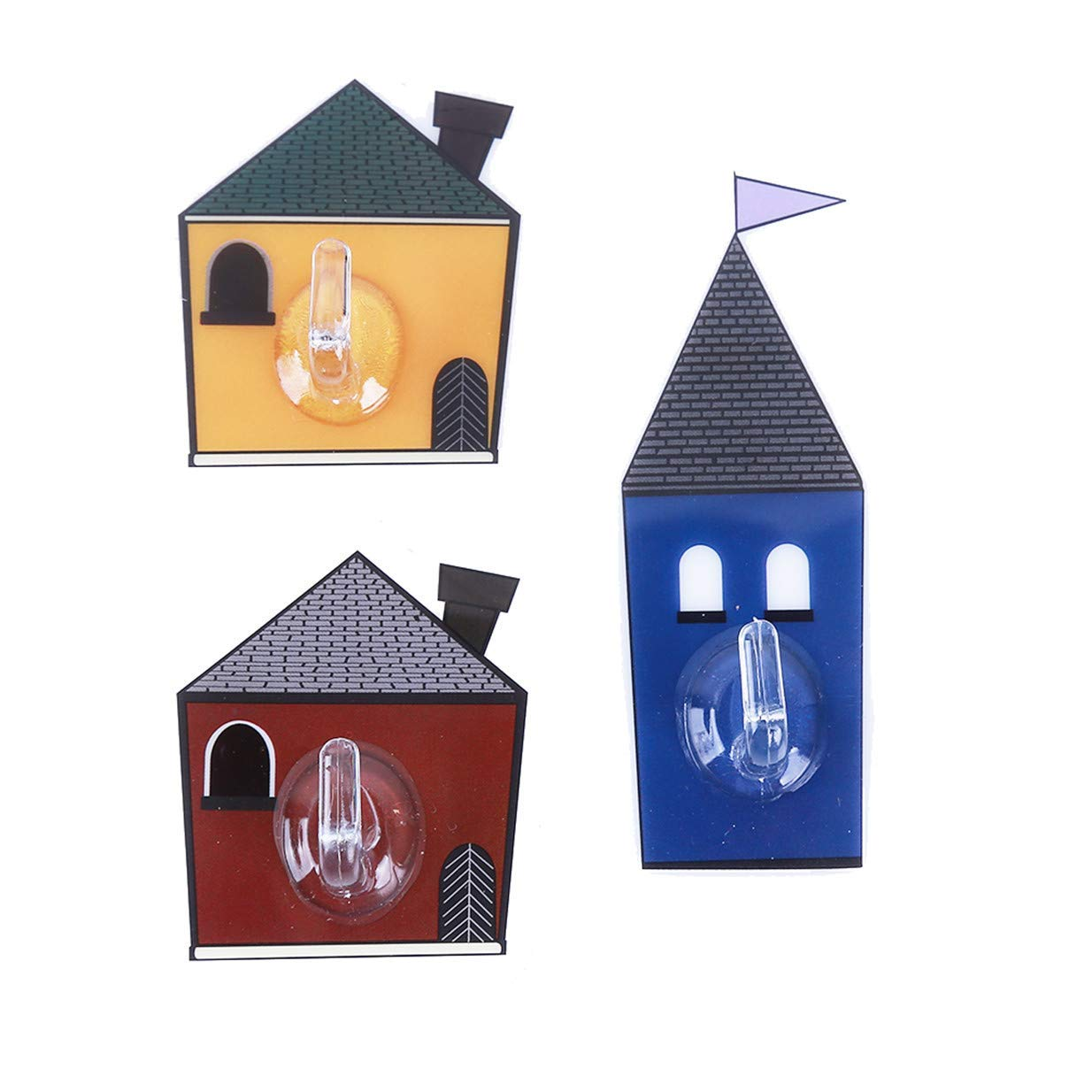 Tcplyn Durable 3Pcs/Set Cartoon Cabin Sticky No Trace Hook Clothes Bag Keys Towels Holder Kitchen Storage Rack