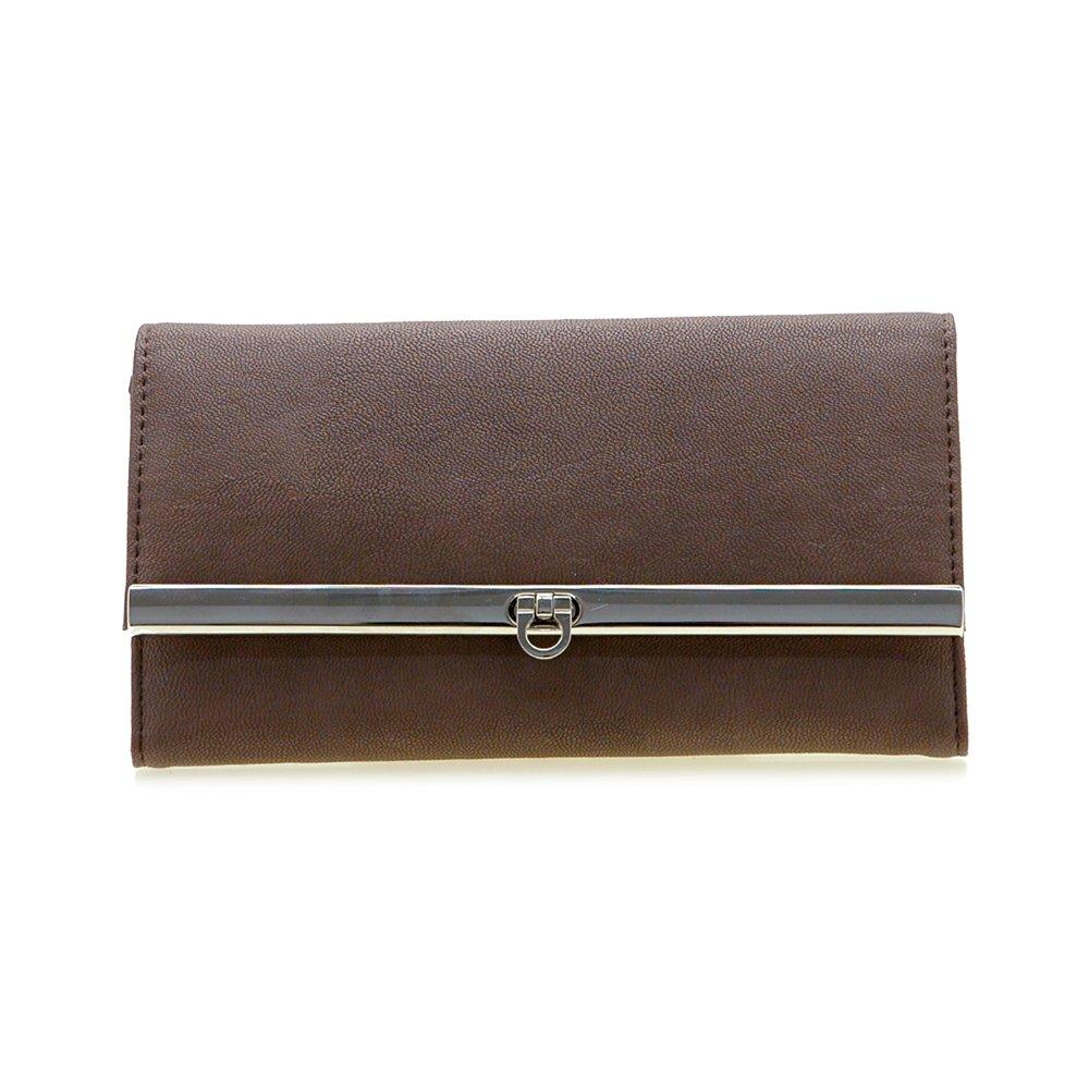 Dasein Women's Fine Tri-fold Texture Leather Like Checkbook Wallet Purse -Coffee