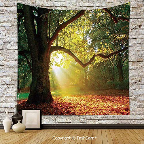 Tapestry Wall Hanging Majestic Mighty Oak Tree with Largely Broader Leaves Forest Sun Rays Nature Tapestries Dorm Living Room Bedroom(W59xL78) ()