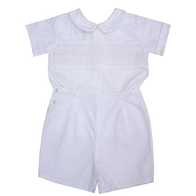 Christening Baptism Smocked Boys Outfit White Buttons On Shorts by Carouselwear