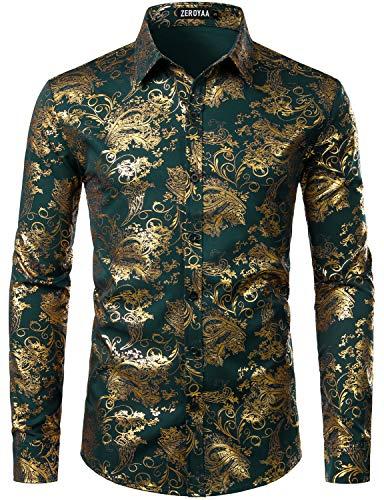 ZEROYAA Men's Luxury Paisley Gold Shiny Printed Stylish Slim Fit Button Down Dress Shirt ZLCL18 Dark Forest Green Medium