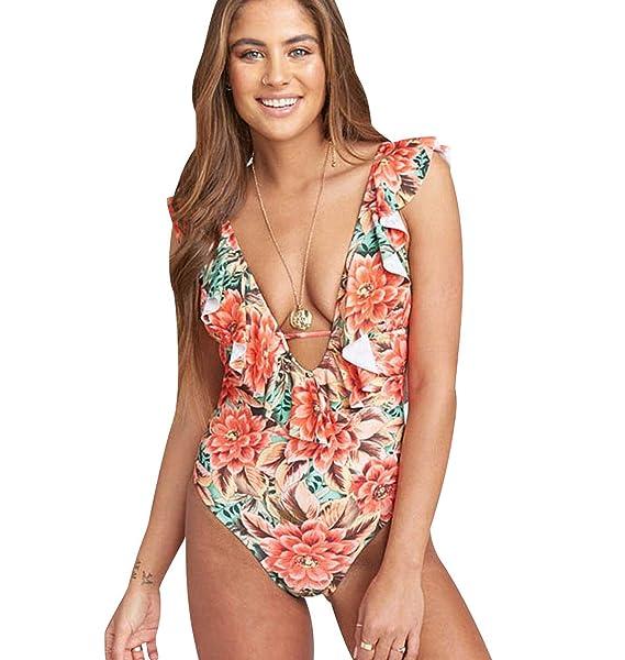 Trajes de Baño Mujer Bañador Vientre Plano Escote V Una Pieza Bañadores Playa Natacion Mujer con Volantes Bikinis de Flores con Relleno Monokini ...