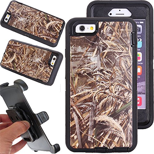 For iphone 6 Case, Kecko® Heavy Duty High Impact Weather Scratch Resistant Full Body Protective Defender Series Tree and Grass Forest Camo Hard Case Cover with Belt Clip Holster and - Case Defender Realtree Camo