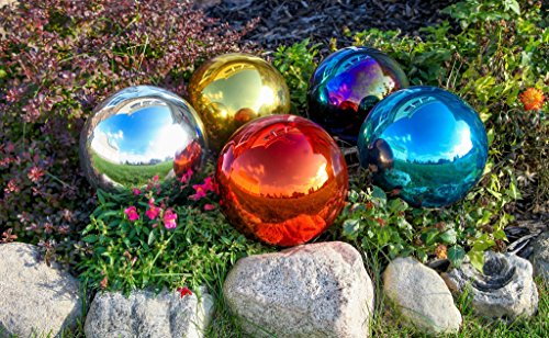 Lily's Home Glass Gazing Mirror Ball, Colorful and Shiny Addition to Any Garden or Home, Ideal As a Housewarming Gift, Sparkling Silver (10 Inches Diameter) by Lilyshome (Image #3)