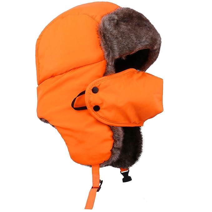 Unisexo Gorro Ruso Hombre y Gorro Invierno Mujer y Naranja Gorro Aviador  Ruso  Amazon.es  Ropa y accesorios 9a6a9ae8c96