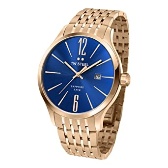 d2e84e4b94ef Amazon.com  TW Steel Blue Dial Rose Gold-tone Stainless Steel Mens ...