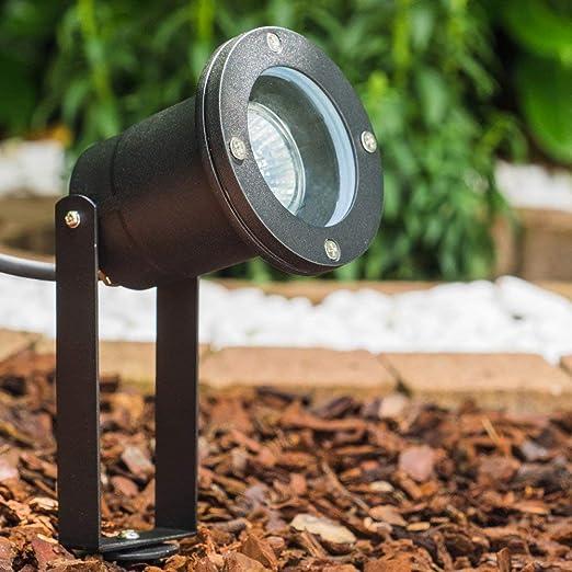 Foco para jardín en negro - iluminación de terraza - iluminación de estanque - iluminación de caminos para noches acogedoras al aire libre: Amazon.es: Iluminación