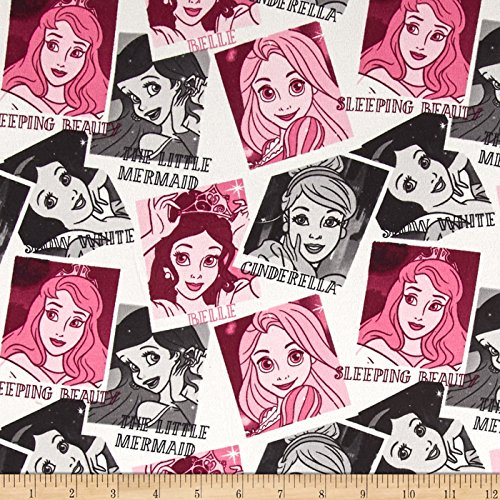 Disney Jersey Knit Princess Photos Pink Fabric By The Yard