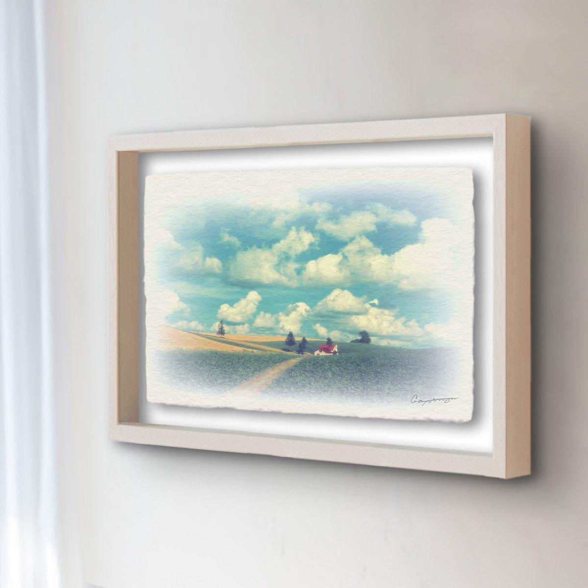 和紙 アートフレーム 続き 絵 絵画 壁掛け インテリア アート 「夏の雲とジャガイモ畑と赤い家へと続く道」 (27x22cm) B073V7YV1X