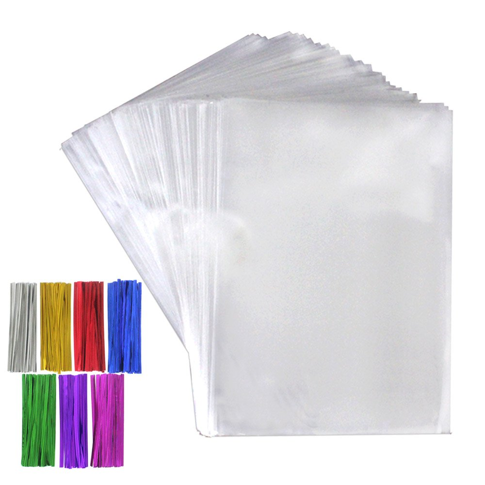Tomnk 300 Pcs Clear Treat Bags Cellophane Bags(6.3'' x 9'') with 300 Twist Ties in 7 Mix Colors for Candy Bread Chocolate Jelly Bakery