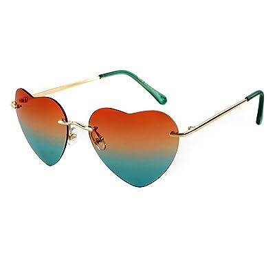 ADEWU Femmes fille en forme de coeur Sunglass lunettes de plage sans monture 5dfdeb5d2765