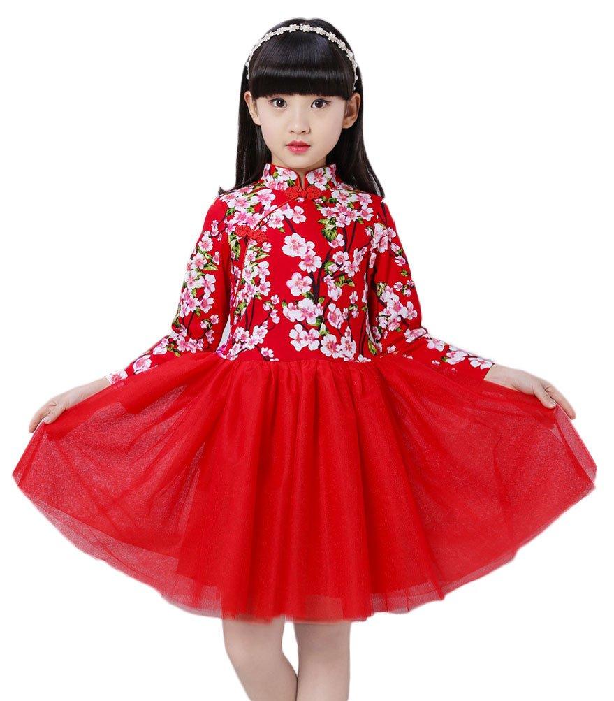 Soojun Kids Girls Long Sleeve Frog Button Cheongsam Dress Chinese Qipao Floral Tutu, 12 Peach Red, 5-6 Years