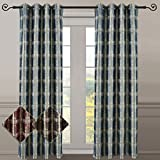 Studio Teal Top Grommet Abstract Jacquard Textured Window Curtain Panel, Set of 2 Panels, 104×96 Inches Pair, by Royal Hotel