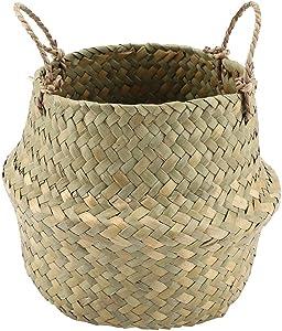Foldable Natural Seagrass Woven Storage Pot Garden Flower Vase Hanging Basket with Handle Storage Bellied Basket(Natural Color)