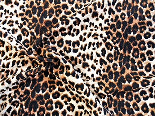 (Bullet Printed Liverpool Textured Fabric 4 Way Stretch Cheetah Animal Taupe U38)