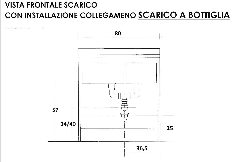 montegrappa Mobile Lavatoio 80x60x85cm 2 Ante 2 Vasche ASSE in Legno Marella Bianco