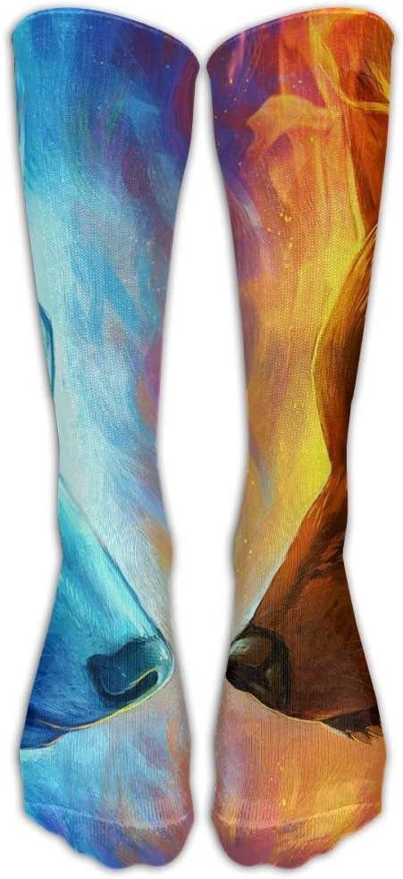 FUNINDIY Fire Wolf Illustration Athletic Tube Socks Women Men High Socks Crazy Socks