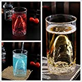 FTSUCQ Shark Creative Transparent Beer Water Wine Drinking Glass Mug Shotglasses, Set of 2