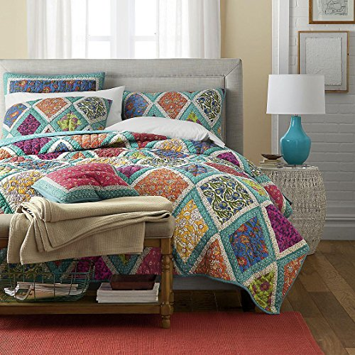 DaDa Bedding Cotton Patchwork Quilt - Fairy Forest Glade Floral Print Bedspread Set, Turquoise Real Patchwork, Cal King, 3-Pieces - Garden Quilt Set