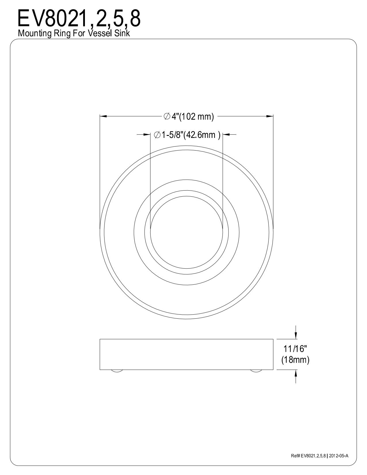 Kingston Brass EV8025 Faucetier Mounting Ring for Vessel Sink, Oil Rubbed Bronze
