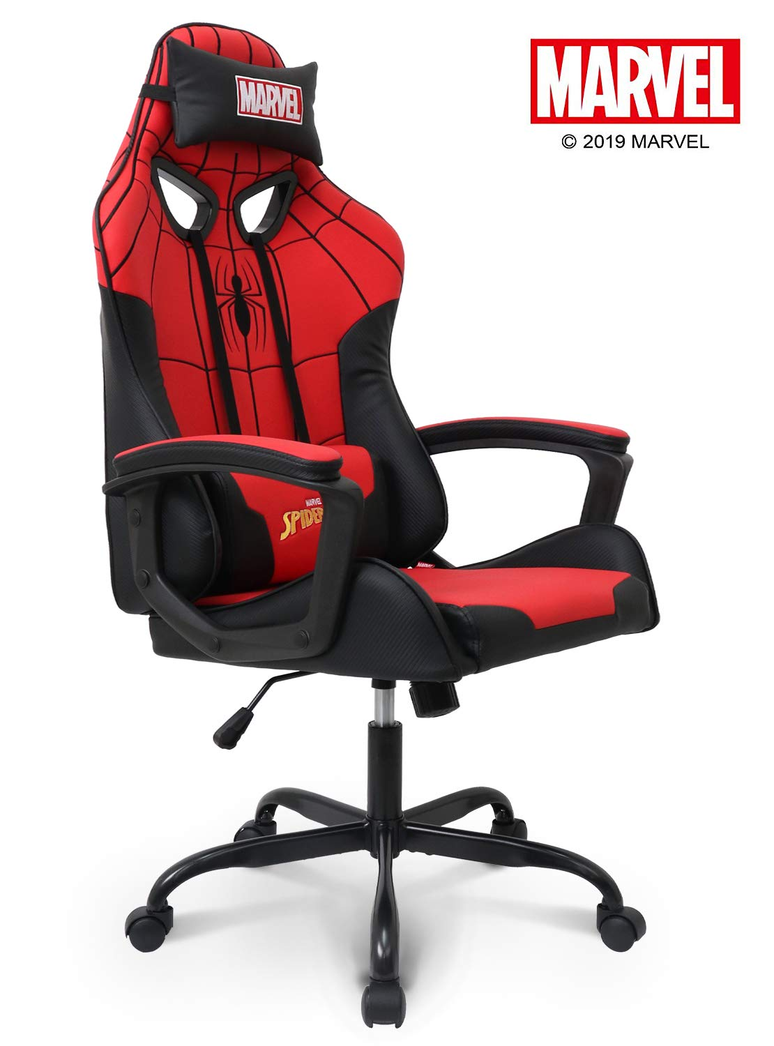 Marvel Spider-Man Gaming Chair High End Ergonomic Neck Lumbar Support Armrests Reclining and Tilting Computer Desk Office Executive Leather Racing Chair by Neo Chair