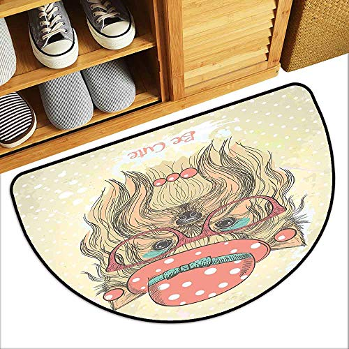 Corvette Round Earring - DILITECK Outdoor Door mat Yorkie Be Cute Portrait of an Adorable Dog with Earrings Necklace Glasses Hat Makeup Non-Slip Backing W36 xL24 Light Brown Coral