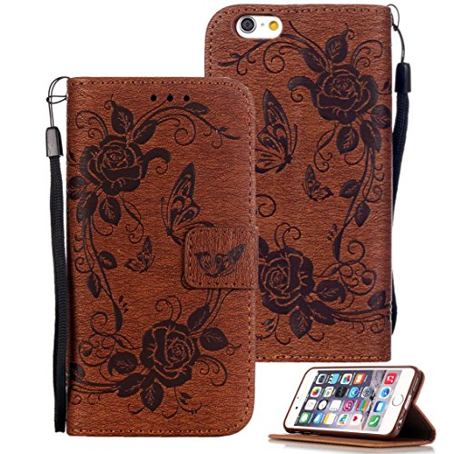 iPhone 6s Case, iPhone 6 Case, iPhone 6/6s Wallet Case, Etubby [Wallet Stand] All-Sided Knurling PU Leather Flip Protective Case with Card Slots and Wrist Strap for Apple iPhone 6 6s 4.7 - Brown