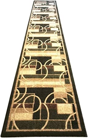 Modern Runner Area Rug Contemporary Green Beige Black Geometric Americana Design 115 2 Feet X 7 Feet 3 Inch Kitchen Dining
