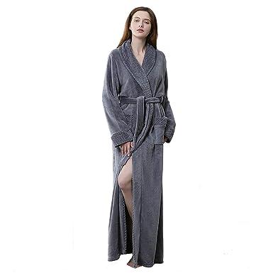 b697ab5c01 Long Bath Robe for Womens Plush Soft Fleece Bathrobes Nightgown Ladies  Pajamas Sleepwear Housecoat Grey