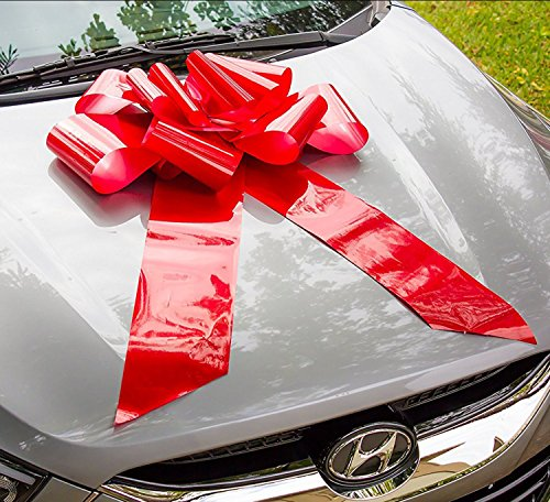 Bow Big - HONGJUYUAN Big Red Car Gift Wrapping Large Bow High Quality Easy Pull Bow(Perfect Shape Guaranteed)