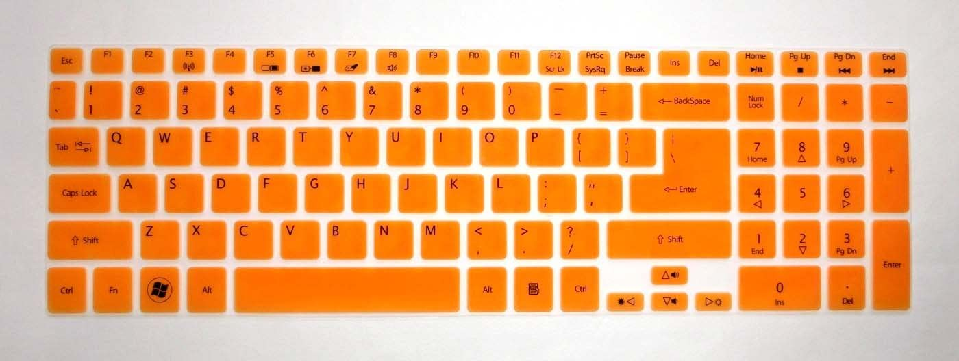 "BingoBuy Semi-Orange Ultra Thin Silicone Keyboard Protector Skin Cover for Acer Aspire E1-510 E1-510P ES1-512 E5-511 E5-511P E5-521 E5-521G E1-522 E1-530 E5-531 E1-532 E1-532P E5-551 E5-551G E1-570 E5-571 E5-571G E5-571P E5-571PG E1-572 E1-572P E1-731 E1-771 E5-721 E5-731 E5-771 E5-771G V5-561 V5-561PG V5-561G V5-561P V3-571 V3-571G V15 V3-572 V3-572G V3-572P V3-572PG V3-772G V3-771 V3-771G V3-551 V3-551G V3-731 V3-731G VN7-791G series(if your ""enter"" key looks like ""7"", our skin can't fit) with BingoBuy Card Case for Credit, Bank, ID Card"