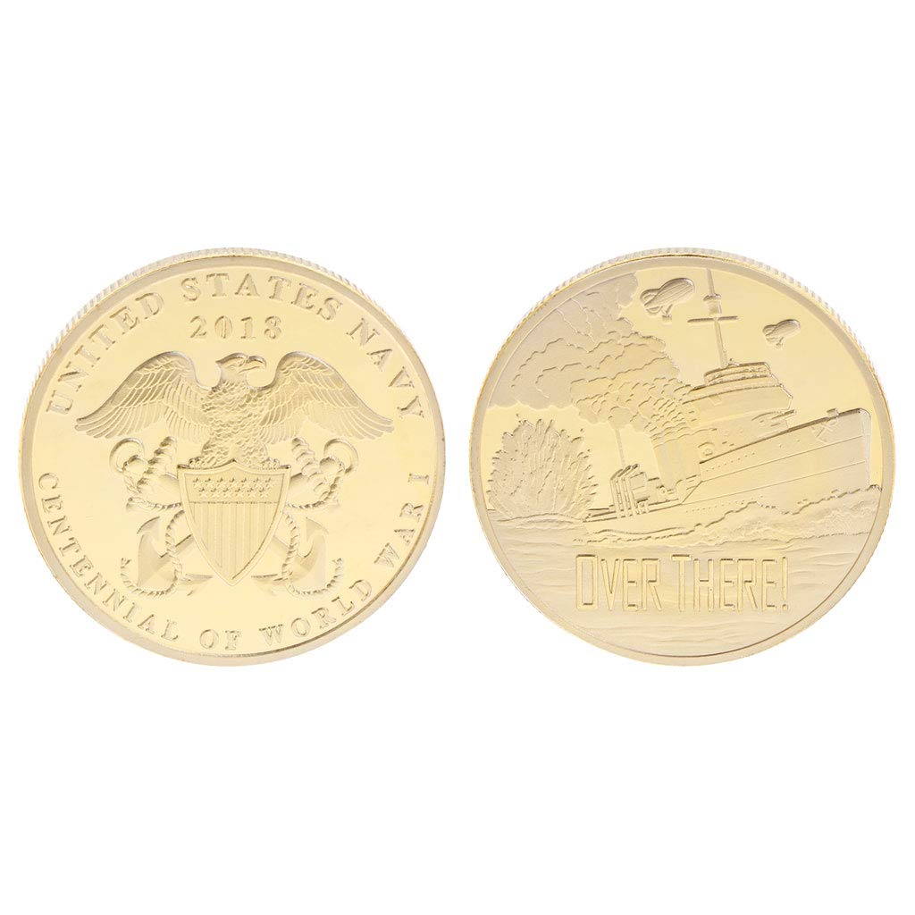 Hardli Commemorative Coin World War United States Navy,Centennial Anniversary Collection Art Gifts Souvenir Collectible Craft (Gold)