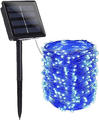 ArtDIY Christmas Solar String Lights, 1 Packed Solar Powered String Lights 200 Led Outdoor Decoration Lights Christmas Twinkle Lighting Fairy Lights Auto On Off Blue