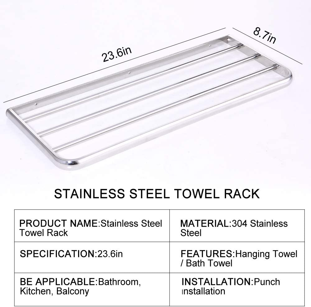 HONPHIER para ba/ño Toallero de acero inoxidable SUS304 con soporte para almacenamiento de toallas cocina para montar en la pared