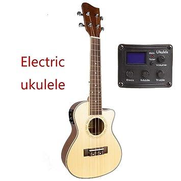 ZXZX Ukulele Ukulele Solid Top 23 26 Pulgadas Guitarra Acústica Eléctrica Concierto Tenor 4 Cuerdas Ukelele