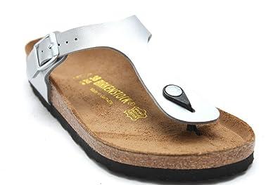 Buy Womens Birkenstock Gizeh Silver Toe Post Sandals SIZE 3